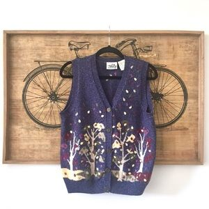 Beautiful Vintage Intarsia Floral Sweater Vest